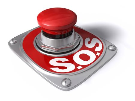 sos: Sos button over white, concept of assistance.