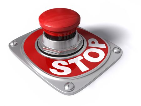 Stop button over white, concept of cease, pause, interrupt, etc. photo