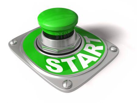 incominciare: Pulsante Start su bianco, concetto di iniziare, andare, avviare, ecc