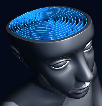 represents: Success Mind. The labyrinth inside the head represents the difficulty to reach the success. Stock Photo