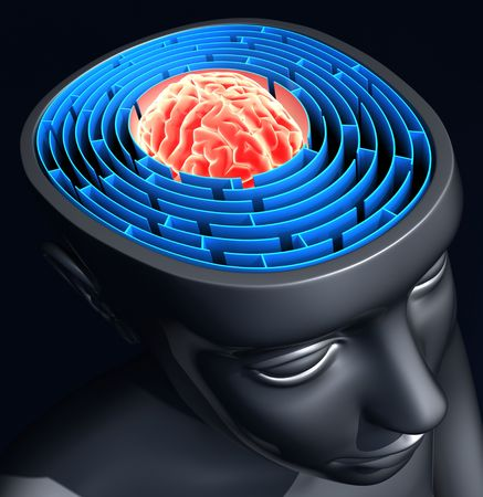 psychics: Success Mind. The labyrinth inside the head represents the difficulty to reach the success. Stock Photo