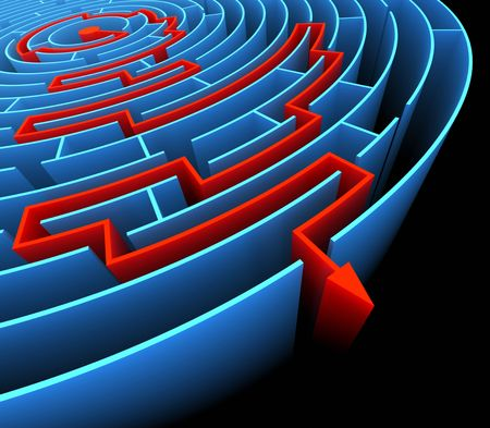 Finding the exit in the labyrinth . Concept of reaching the success. Stock Photo - 4834484
