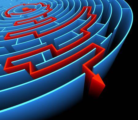 Trovare l'uscita del labirinto. Concetto di raggiungere il successo.