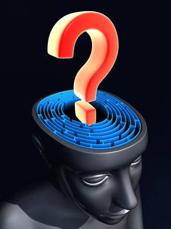 Question mark on the center of labyrinth inside the head. Concept of confused mind.  Stock Photo - 4849362