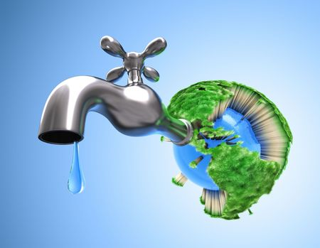scarcity: Concept of waste water in the world. Scarce water make the grass die and all life on the Earth.