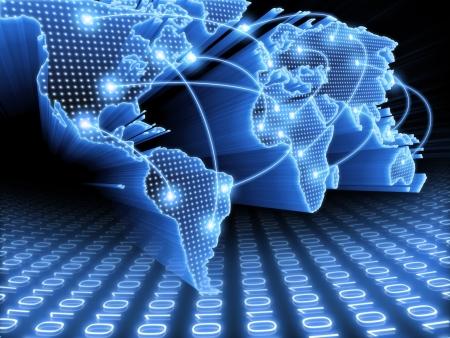 interconnected: Mapa del mundo interconectado por cable (fibra �ptica), de la informaci�n. Concepto global de la informaci�n y la tecnolog�a de la comunicaci�n.