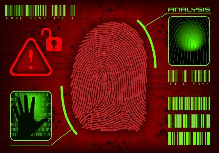 empreintes digitales: Acc�s des empreintes digitales. Image vectorielle ajouter ou supprimer des informations  Illustration