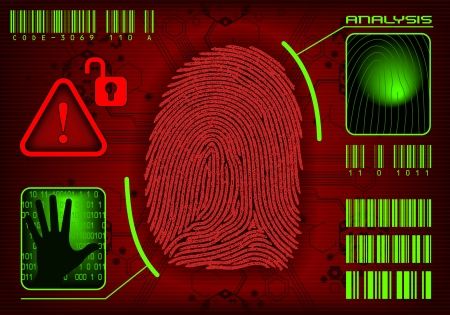 Fingerprint Access. Vector image add or remove information