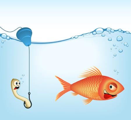 lombriz de tierra: El pescado y las lombrices de tierra. Concepto de pesca. Es una imagen de VECTOR. Agregar o quitar detalles.  Vectores