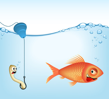 goldenfish: The fish and earthworm. Concept of fishery. Its a VECTOR Image. Add or remove details. Illustration