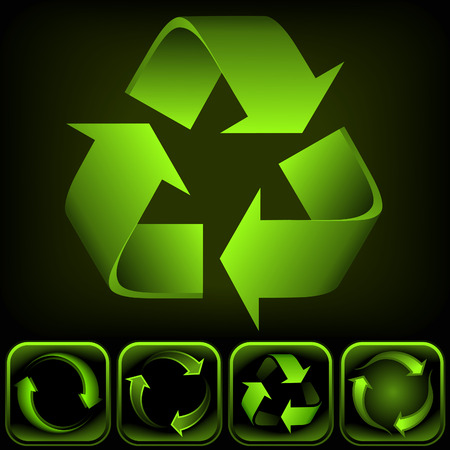 Recycle logo on black background. Its a image. Add or remove details or change the black to white background. Illustration