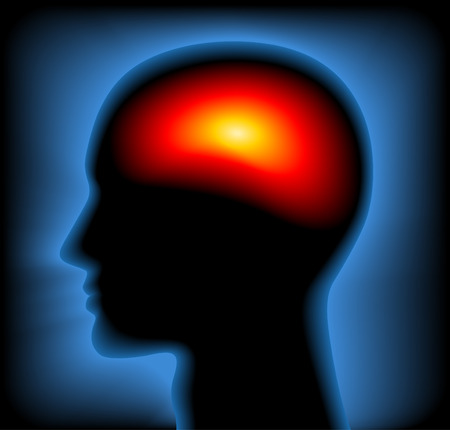 psychic: Silhouette of the head showing inside with Thermal X-Ray