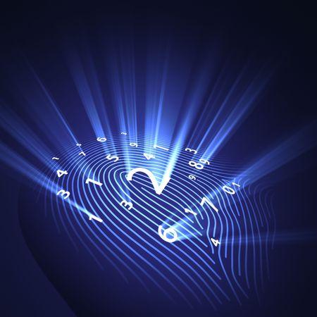 violaci�n: Los n�meros de la huella digital representa un concepto de sistema de seguridad, avanzada tecnolog�a, la violaci�n y el espionaje.