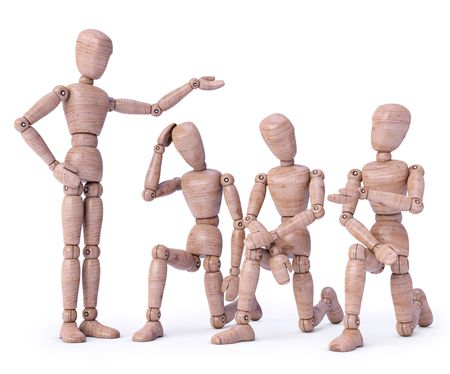 humildad: Concepto de empleador y empleado con madera mu�ecos de 3D render. Concepto de presentaci�n y mansedumbre.  Foto de archivo