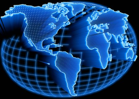 self communication: World map self illuminated. Concept of global information and technology of communication.