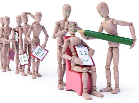 Row of dolls waiting their turn to make a face. Concept of plastic surgery, expression and emotion. Stock Photo