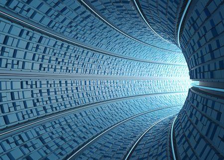 tunel: Dentro de un tubo futuro (t�nel) con la luz al final de la curva.