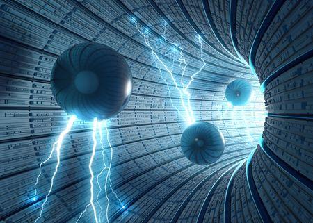 Fondo de ciencia ficción. Dentro de un túnel abstracto con las esferas eléctricas. Concepto de energía, la ciencia y la tecnología.  Foto de archivo