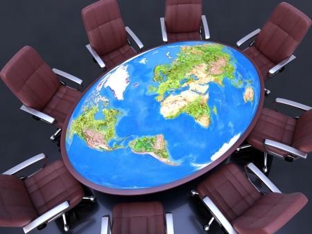governance: Acht zitplaatsen rond de tafel, met planeet aarde (wereld kaart 3d) in het midden. Concept van de bezorgdheid over de toekomst van de planeet. Stockfoto