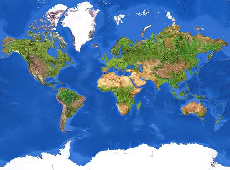 High resolution of the Planet Earth painted texture.