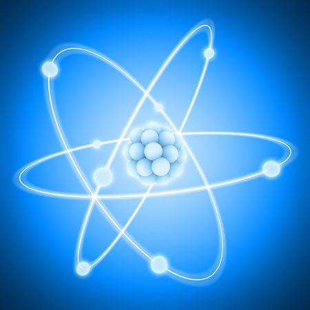 nucleus: The central nucleus are surrounded by a cloud of negatively charged electrons.