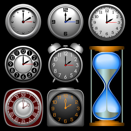 timekeeper: Multiple clocks in different shapes and styles. Illustration