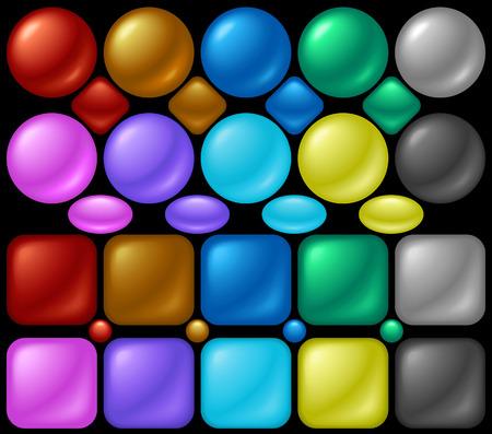 viso: Botones de perlas. Un conjunto de botones redondos y cuadrados con perlas de brillo.  Vectores