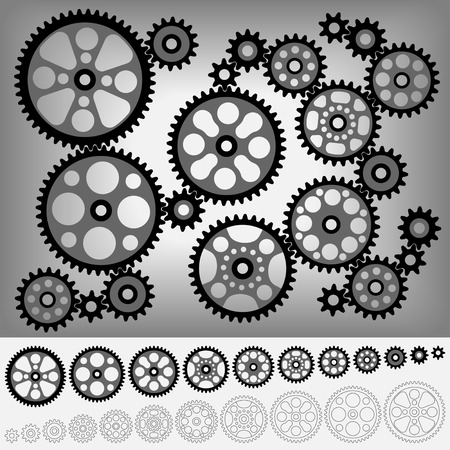 compatible: Collection of gears totally compatible each other. All teeth are the same size of gear.