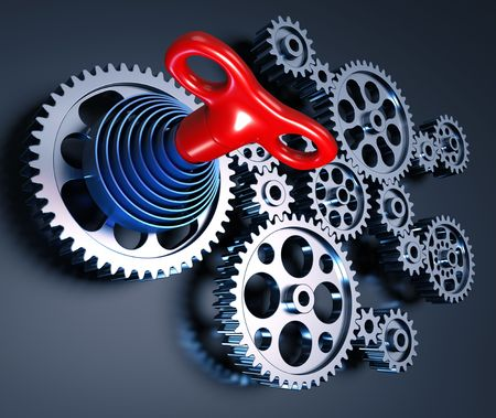 industrial machine: Set of gears interconnected forming a machine concept. The key and the spring represents the beginning of the operation, the control of all pieces. The source of energy generated by a spring.