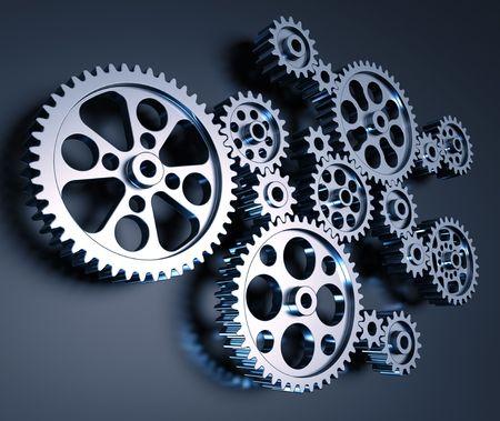 interconnected: Conjunto de engranajes interconectados formando un concepto de m�quina.  Foto de archivo
