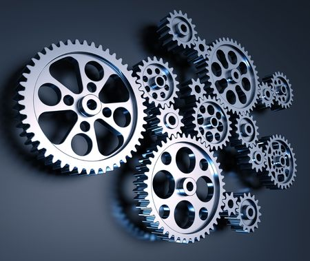 Set of gears interconnected forming a machine concept. Stock Photo