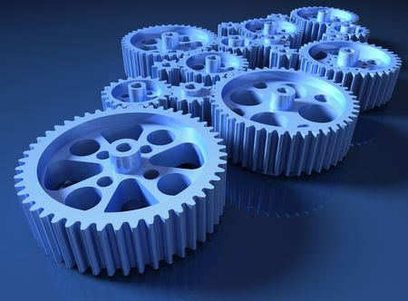 interconnected: Set of gears interconnected forming a machine concept. Stock Photo