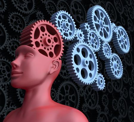 mastery: Concept of leadership and control. The main gear is the brain of man. Stock Photo