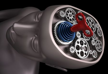 The human brain is a set of gears powered rope. Only with the key of power, energy and motivation, the brain back up and running. Stock Photo