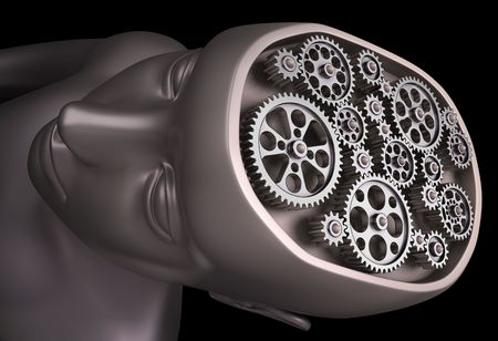 The human brain is a set of gears. Important parts of our brain are interconnected. photo
