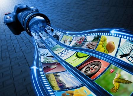 reflex: Professional Camera scatta foto. La striscia di pellicola di immagini inserite attraverso la lente. Esclusivo Design (Design Concept).