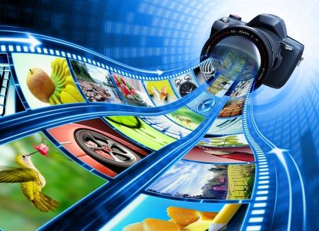 reflex: Telecamera professionale prende le immagini. La striscia di pellicola di immagini inserite attraverso la lente. Esclusivo design (Design Concept).  Archivio Fotografico