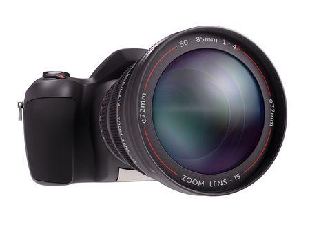 Professional camera over white. Exclusive Design (Design Concept). 免版税图像