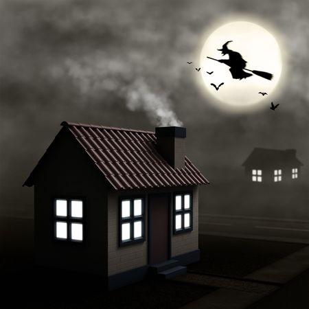 hag: Night Hag. Home at night with fog everywhere. Stock Photo