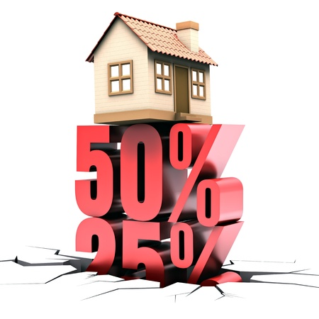 deduct: 50% discount on the sale of home. Concept of rebate.