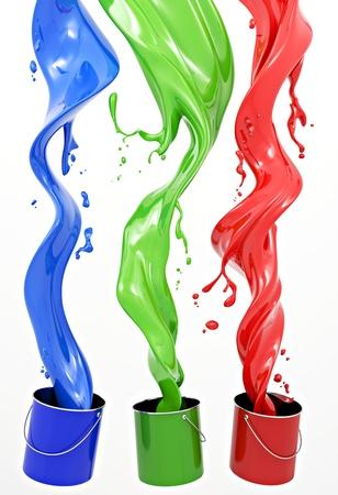 color in: Definici�n de sistema de color RGB. Tres colores en forma de l�quido sobre un fondo blanco. Foto de archivo