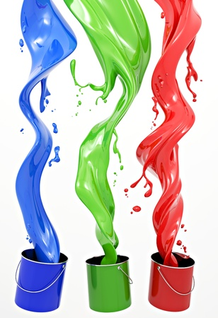 rgb: Definition of RGB color system. Three colors in the form of liquid on a white background. Stock Photo