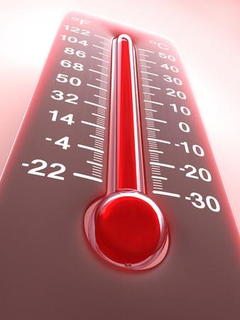 termometro: Temperatura del planeta tierra. Concepto de efecto invernadero.