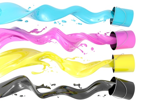 cmyk: Definition of CMYK color system. Four colors in the form of liquid on a white background.