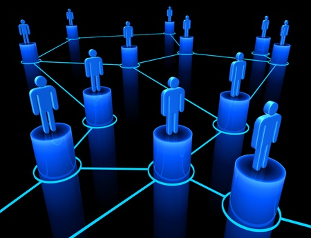 social system: People interconnected on the concept of team, union and communication.