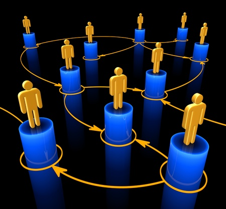 People interconnected on the concept of team, union and communication. photo