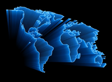 longitude: 3D World Map with dots and lights representing the digital world. Concept of digital technology around the world. Stock Photo