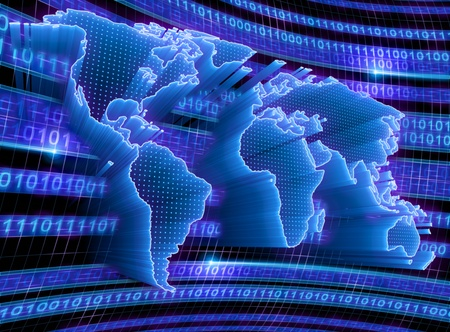 3D World Map with binary code, dots and lights representing the digital world. Concept of digital technology around the world. Stock Photo