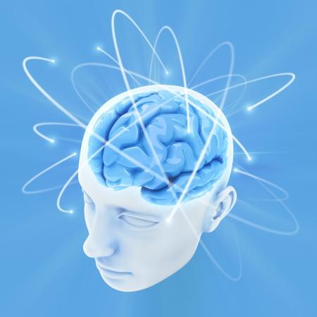 perceptie: Hoofd verlicht door de energie van de hersenen. Concept van het denken, de macht van mening. Stockfoto
