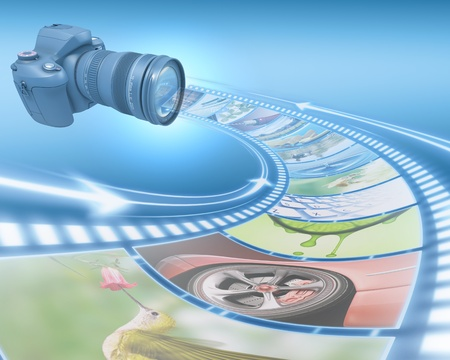 cmos: Professional Camera takes pictures. The film strip of pictures enter through the lens. Exclusive Design (Design Concept). Stock Photo